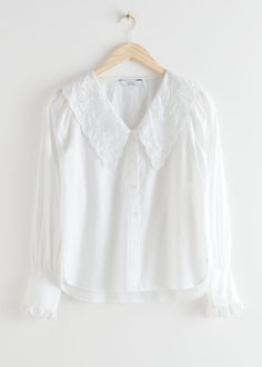 Embroidered Statement Collar Blouse - White - Blouses - & Other Stories Denim Blouse, Collar Blouse, Denim Shirt, Ruffle Blouse, Shirt Collar Styles, White Silk Blouse, Satin Blouses, Cotton Blouses, Shirt Blouses
