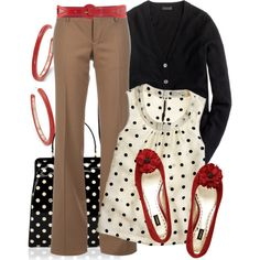 Business camel pant red black white polka dots