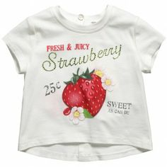 Girls Ivory Strawberry Print T-Shirt Kids Wear, Children Wear, Strawberry Decorations, Strawberry Cheesecake, Cherries, Strawberries, T Shirt, How To Wear, Ivory