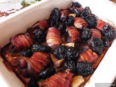 Baconos csirkemáj aszalt szilvával, vörösborral | Tétova ínyenc