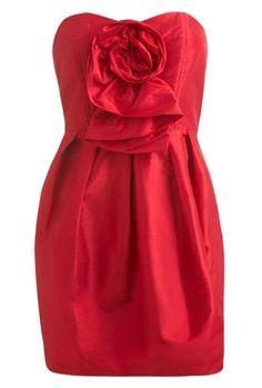 Taffeta rose front tube dress