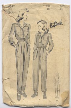 Women's Coveralls pattern from the 1940's.