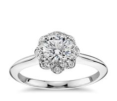 Floral Halo Diamond Engagement Ring in 14k White Gold (1/10 ct. tw.)   Blue Nile