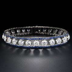 French Art Deco Diamond and Sapphire Bracelet - 40-1-1158 - Lang Antiques