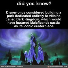 Did you know? Disney once considered building a park dedicated entirely to villains called Dark Kingdom, which would have featured Maleficent's castle as it's iconic centerpiece. #SleepingBeauty