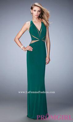 Sheer Cut Out V-Neck Long La Femme Prom Dress Style: LF-22276