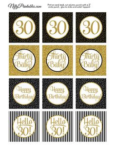 Black & Gold Glitter 30th Birthday Cupcake by NiftyPrintables