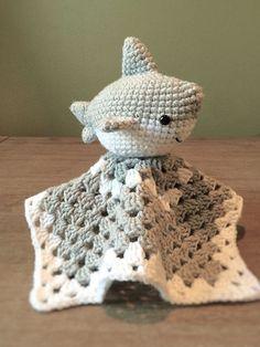 Crochet Shark Baby Lovey by YarnCreationsByKarla on Etsy
