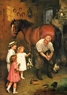 Won't You Fix My Horse, Too? Print by Arthur Elsley http://www.hoofprints.com/Wont-You-Fix-My-Horse-by-Arthur-Elsley/productinfo/P76/