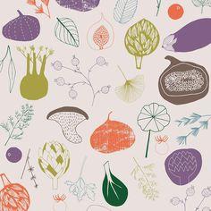 Muted tones I  in this veggie pattern #pattern #zoeingram #veggies #eatyourveggies #mutedpalette #surfacedesign #lillarogersstudio