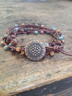 Sunflower Multi Wrap Crochet & Leather Bracelet, Anklet, Necklace Beach Chic. $30.00, via Etsy.