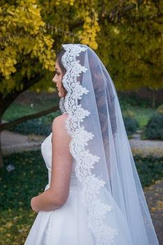 The floor-length Elm veil is a mantilla veil featuring intricate lace trim and our Cashmere Soft tulle. Bride Veil, Wedding Dress With Veil, Dream Wedding Dresses, Wedding Bride, Long Wedding Veils, Vail Wedding, Mexican Wedding Dresses, Tulle Wedding, Wedding Hair
