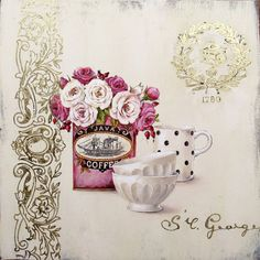 Art Print: Set for Coffee Art Print by Stefania Ferri by Stefania Ferri : Decoupage Vintage, Vintage Diy, Vintage Ephemera, Vintage Cards, Posters Vintage, Vintage Prints, Vintage Pictures, Vintage Images, Collages D'images
