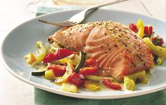 Basil Salmon and Julienne Vegetables (Gluten Free)