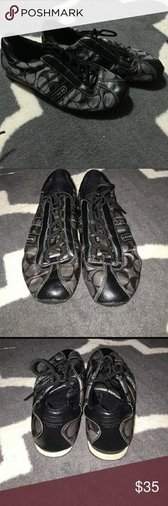 Coach Tennis Shoes Excellent used condition. No stains or tears. Black and grey. Coach Shoes Sneakers