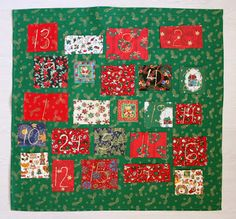 Advent calendar from Christmas fabrics. Tutorial video included.   Joulukankaista ommeltu taskullinen joulukalenteri, ohjevideo