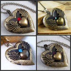 Angel Wing Locket Necklace With Swarovski Amethyst Brass Heart Locket Pendant 6.99