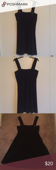 """Black Fit and Flare Button Dress Adorable thick strap tank dress with buttons on the straps. This dress is fitted around the bust then flows out beautifully. Very flattering shape. The dress zips up on the left side. This dress has been worn only a few times, it's in great condition!  62% polyester 33% rayon 5% spandex   Bust measures 16 1/2"""" and its 29"""" long Maurices Dresses Midi"""