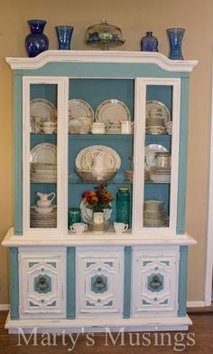 china hutch makeover with annie sloan paint, chalk paint, painted furniture, The finished project