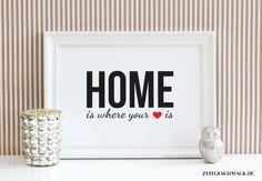 """Typodruck """"Home is where your heart is"""" // typo poster by Schöne Poster / Bilder / Kunstdrucke für Dich! ♥ via DaWanda.com"""