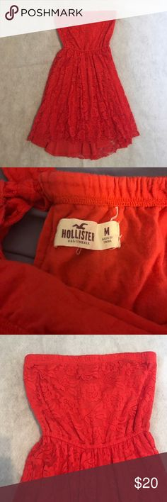 Hollister Strapless Dress Strapless hollister dress in medium. Worn one time years ago so it is in perfect condition. True to size. Lace overlay with a vibrant red color. Hollister Dresses Strapless