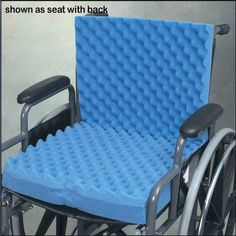 """Convoluted Wheelchair Cushion with Back & Blue Polycotton Cover -   Foam Cushion with Back and Blue Polycotton Cover. Good for even distribution of weight. High-density long-lasting foam allows better circulation of air. Seat: 17"""" x 17"""" x 2.75"""". Shipping Carton Size: 18"""" x 17"""" x 6""""."""