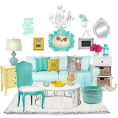 Colorful Beach House by missblue1 on Polyvore featuring interior, interiors, interior design, casa, home decor, interior decorating, Safavieh, Nuevo, Stray Dog Designs and Regina-Andrew Design