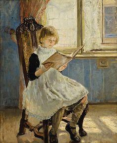 Fritz von Uhde (German, 1848-1911). Das Bilderbuch I (Picture Book I), 1889. Charles and Emma Frye Collection, 1952.174