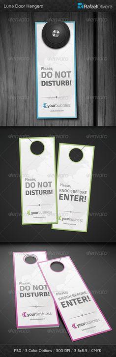 Luna Door Hangers — Photoshop PSD #bed #green • Available here → https://graphicriver.net/item/luna-door-hangers/4612371?ref=pxcr