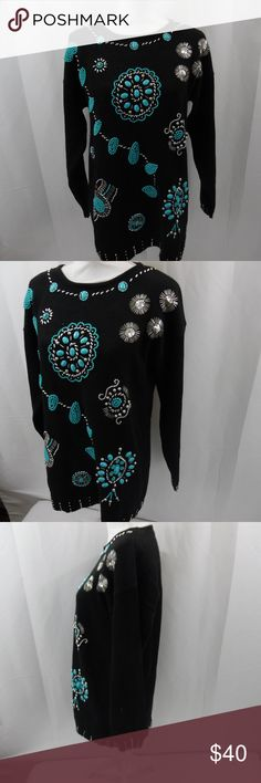 Victoria Jones Beaded Sweater LARGE awesome. Very beautiful beaded sweater from Victoria Jones is black with silver and turquoise colored beads and adornments. The style of the designs is native american .  Size is LARGE.   This sweater is hand wash only and will need washed. I had it stored in a tote with a vest that had faux fur trim and the fur was falling off all over everything inside. Victoria Jones Woman Sweaters