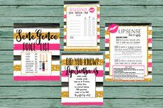 INSTANT DOWNLOAD LipSense SeneGence Printables Gold black hot pink stripes LipSense party bundle package black gold pink party prints fuscia by MINTablePrintables on Etsy