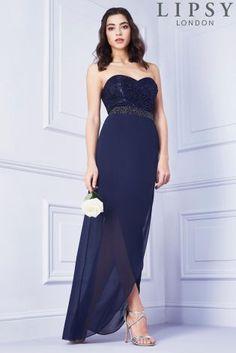 Buy Lipsy Glitter Bandeau Maxi Dress from the Next UK online shop Uk Online 49abf807369