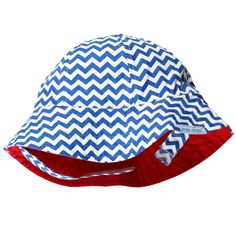 74d9ca29d8c Wee Ones Royal Blue Chevron Baby Sun hat (Reverses to Solid Red) 18-
