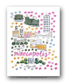 Minneapolis, MN Map Print