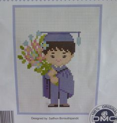 DIY Boy Male Graduation Cross Stitch Kit, Congratulation Graduation Cross Stitch
