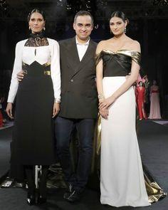 Athiya Shetty and designer Bibhu Mohapatra pose on stage.  #Bollywood #Fashion #Style #Beauty #Hot