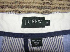 J Crew Mens Seersucker Shorts Blue Stripe  sz 35  SOLD $25