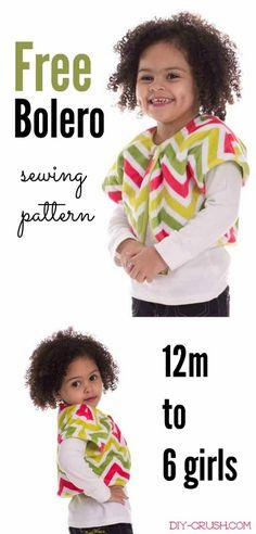 Free Bolero Sewing Pattern for girls 12 months through 6 years. Sew this reversible bolero with Cuddle fabric or fleece |DIY Crush