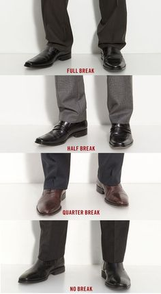 Good vocabulary to know when talking to your tailor about how you want your pants hemmed. This applies to your slacks and jeans. The general standard is somewhere between half break and quarter break.no break gives you that look like most male models have when they're on the runway, which in my opinion is like flood pants. To each his own!