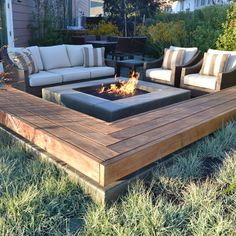 Very inviting fire pit and seating area.