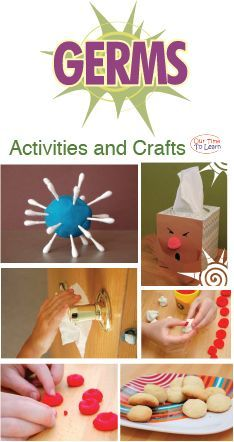Activities and crafts all about germs! From the Our Time to Learn blog and workbook (About Me). For ages 4-6, preschool, kindergarten, 1st grade, and home school.