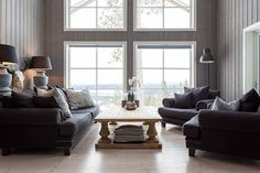 If all your furniture and accessories are the same size it will read like a big yawn. Choosing stuff all the same style and all the same height is so boring so mesh and mash it up. Residential Interior Design, Interior And Exterior, Design Inspiration, Windows, Living Room, Logs, Cabins, Mesh, Dreams