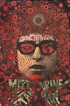 Blowing In The Mind. Mister Tambourine Man, Bob Dylan (1968) by Martin Sharp        (Screenprint in red and black on gold foil)