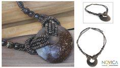 Coconut Shell Pendant Necklace - Crescent Moon   NOVICA