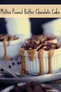 Molten Peanut Butter Chocolate Cake. Warm chocolate cake with a gooey peanut butter center, from NoblePig.com