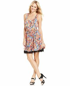 Betsey Johnson Sleeveless Floral-Print Dress