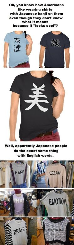 Japanese people wear shirts with random American words printed on them. I'm dying at the comments.