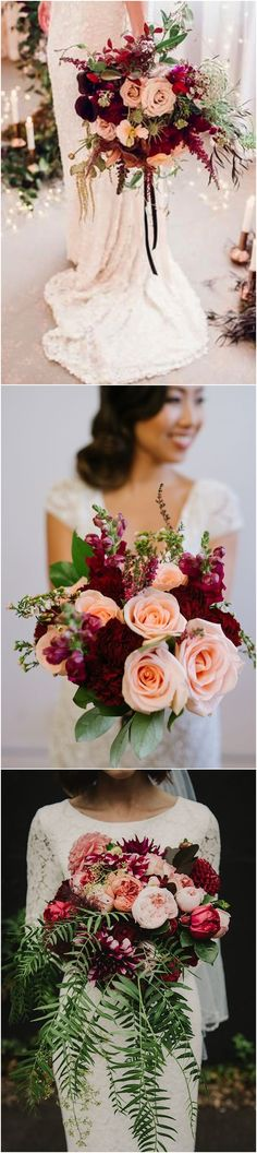 Burgundy Wedding Bouquets for Fall / Winter Wedding 、 http://www.himisspuff.com/burgundy-wedding-bouquets-for-fall-winter-wedding/