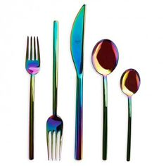 Iridescent 5-Piece Flatware Set  Exclusively at ABC, dreamy waves of color rush over stainless steel Italian-made flatware.