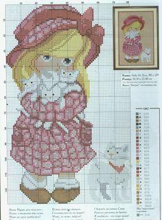 niña y sus gatitos Cross Stitch Family, Tiny Cross Stitch, Cat Cross Stitches, Cross Stitch Animals, Cross Stitch Designs, Cross Stitching, Biscornu Cross Stitch, Cross Stitch Charts, Cross Stitch Embroidery